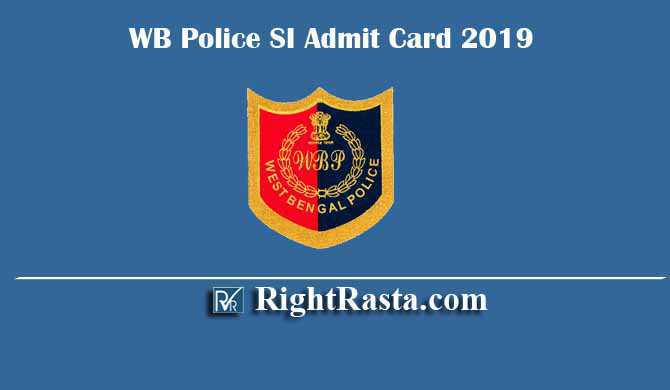 WB Police SI Sub Inspector Admit Card 2019