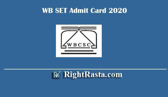 WB WBCSC SET Admit Card 2020