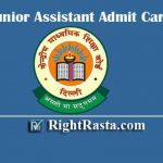 CBSE Junior Assistant Admit Card 2020 | Download JA, Stenographer, Accountant, Analyst & Secretary Exam Hall Ticket