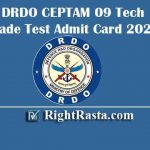 DRDO CEPTAM 09 Tech Trade Test Admit Card 2020 | Download DRDO Technical Tier II Exam Hall Tickets @ drdo.gov.in
