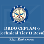 DRDO CEPTAM 9 Technical Result 2020 - Download Tech A Tier II Exam Results