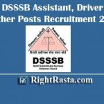 DSSSB Assistant, Driver & Other Posts Recruitment 2020 | Apply Online Form for 03/20 Vacancies (256 Posts)