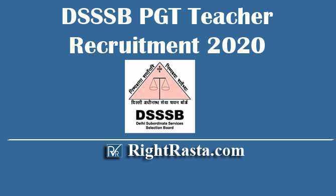 DSSSB PGT Teacher Recruitment 2020