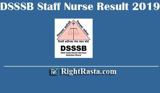 DSSSB Staff Nurse Result 2019-2020