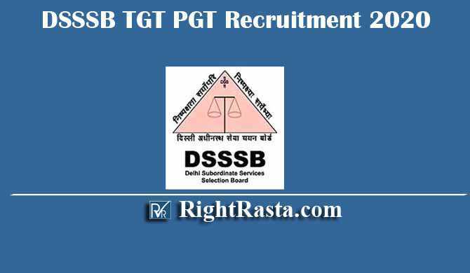 DSSSB TGT PGT 04/20 Recruitment 2020