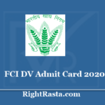 FCI DV Admit Card 2020 - Zone Wise 2nd Round Documents Verification Call Letter
