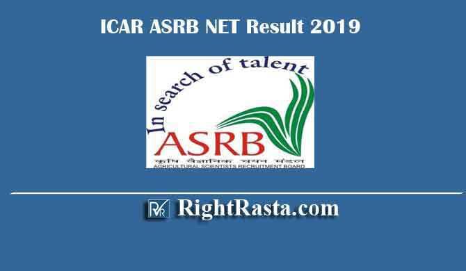 ICAR ASRB NET Result 2019