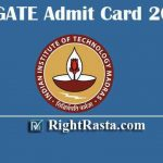IIT GATE Admit Card 2020 | Download IIT Graduate Aptitude Test Hall Tickets