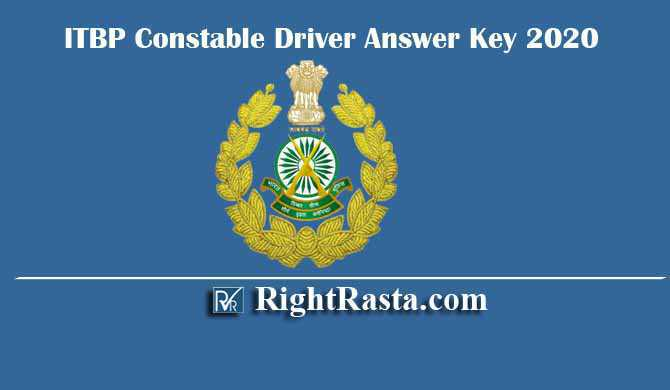 ITBP Constable Driver Answer Key 2020