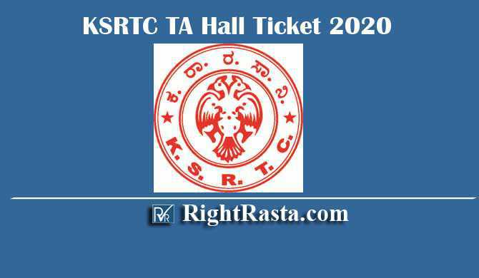 KSRTC TA Technical Assistant Hall Ticket 2020