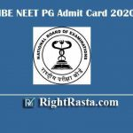 NBE NEET PG Admit Card 2020 | Download NBE DNB Post MBBS Admit Card @ nbe.edu.in