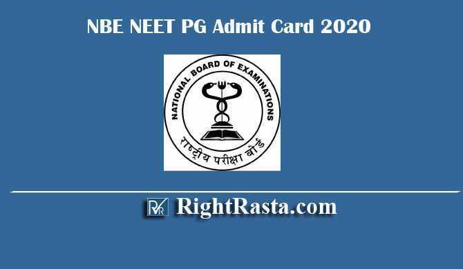 NBE NEET PG Admit Card 2020