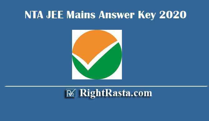 NTA JEE Mains Answer Key 2020