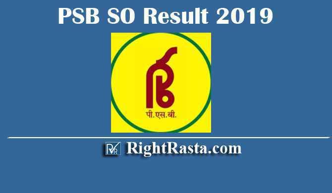 PSB SO Specialist Officer Result 2019