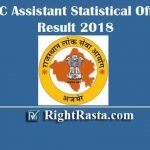 RPSC Assistant Statistical Officer Result 2018 | Download RPSC ASO Result with Cut Off Marks