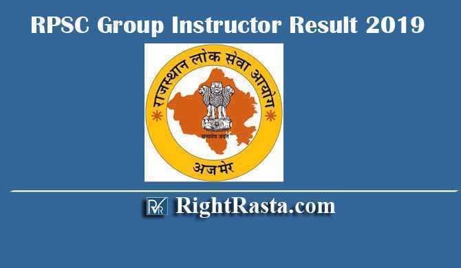 RPSC Group Instructor Result 2019