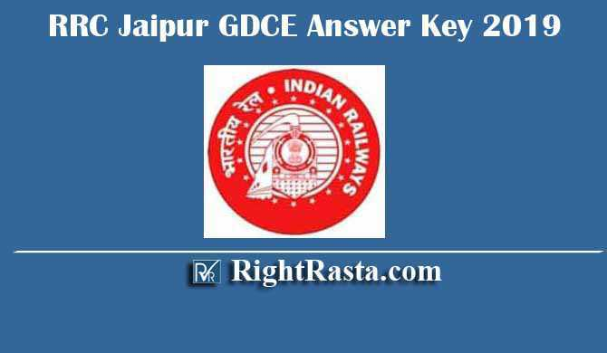 RRC Jaipur GDCE Answer Key 2019
