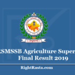 RSMSSB Agriculture Supervisor Final Result 2019 - Final Recommendation of Selected Candidates