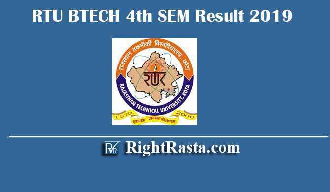 RTU BTECH 4th SEM Result 2019