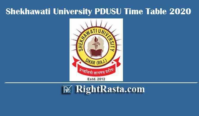 Shekhawati University PDUSU Time Table 2020