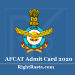 AFCAT Admit Card 2020 (Out) Download Indian Air Force 02/2020 Hall Ticket