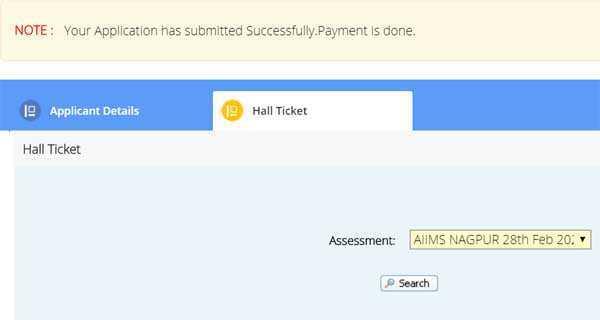 AIIMS Nagpur Staff Nurse Admit Card Screen