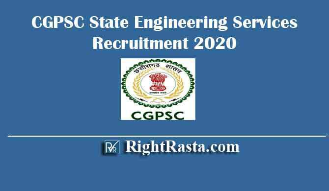 CGPSC State Engineering Services Recruitment 2020