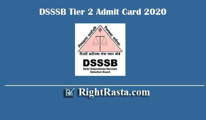 DSSSB Tier 2 Admit Card 2020