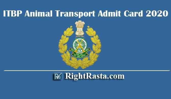 ITBP Animal Transport Admit Card 2020