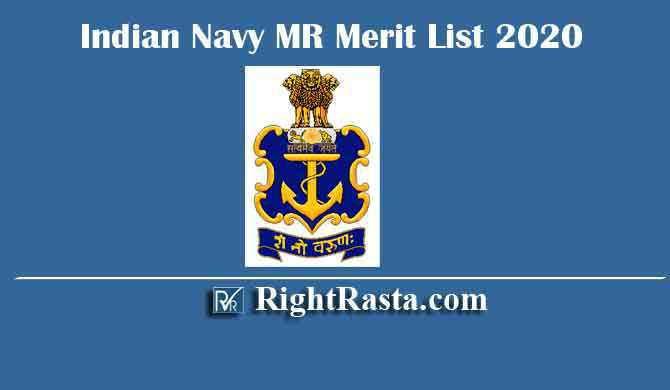 Indian Navy MR Merit List 2020