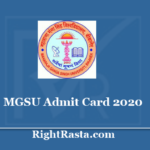 MGSU Admit Card 2020 Out @ www.univindia.net main page July Exam