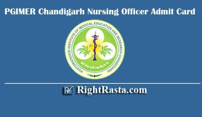PGIMER Chandigarh Nursing Officer Admit Card 2020