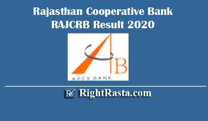 Rajasthan Cooperative Bank RAJCRB Result 2020
