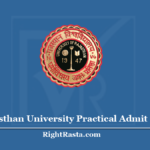 Rajasthan University Practical Admit Card 2020 - UNIRAJ (RU) Practical Exam Hall Ticket