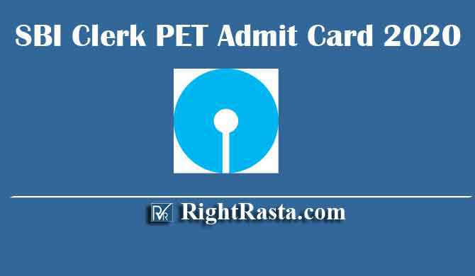 SBI Clerk PET Admit Card 2020