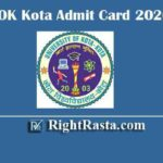 UOK Kota Admit Card 2020 | Download University of Kota Permission Letter @ univexam.org/Uok/mainpage