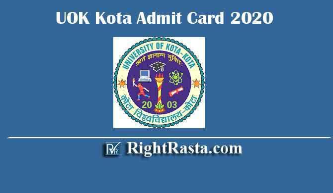 UOK Kota Admit Card 2020