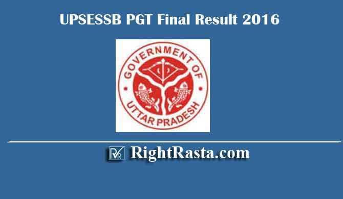 UPSESSB PGT Final Result 2016