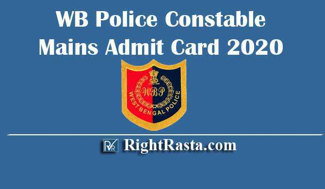 WB Police Constable Mains Admit Card 2020