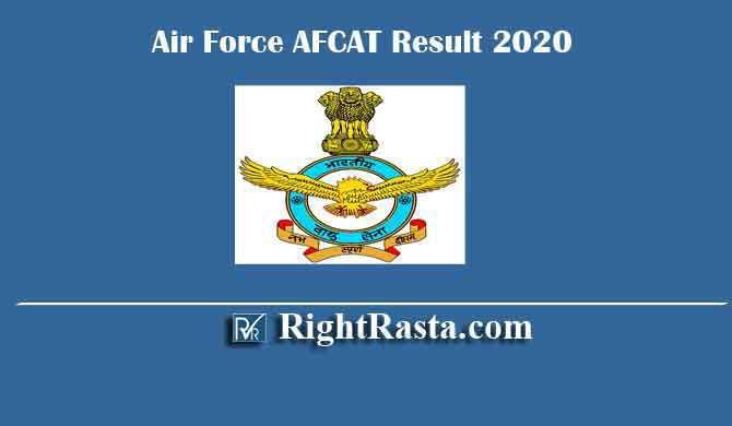 Air Force AFCAT Result 2020
