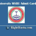 Brij University MSBU Admit Card 2020 | Download Maharaja Surajmal University Exam Hall Ticket @ univindia.com/MsBU