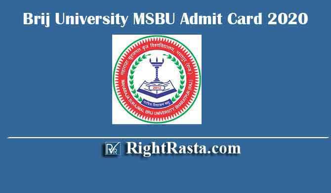Brij University MSBU Admit Card 2020