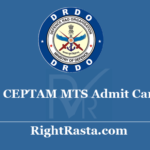 DRDO CEPTAM MTS Admit Card 2020 - Download Multi Tasking Staff Exam Date @ detceptam.com