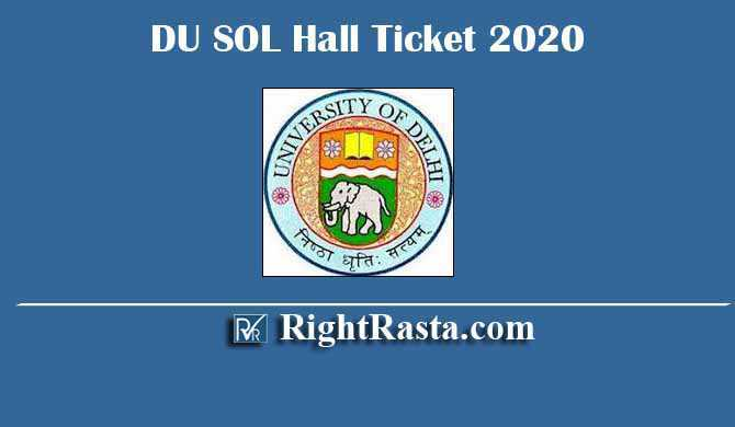 DU SOL Hall Ticket 2020