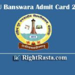 GGTU Banswara Admit Card 2020 - Govind Guru Tribal University Mains Exam Admit Cards