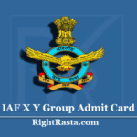 IAF X Y Group Admit Card 01/2021 (Out) | Download Indian Air Force Hall Ticket