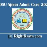MDSU Ajmer Admit Card 2020 | Download Maharshi Dayanand Saraswati University Exam Permission Letter @ mdsuexam.org