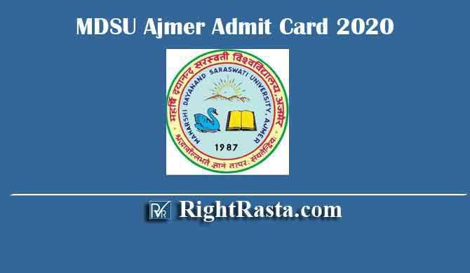 MDSU Ajmer Admit Card 2020