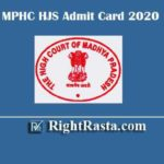 MPHC HJS Admit Card 2020 | Download MP High Court District Judge Pre Exam Hall Ticket