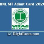 RINL MT Admit Card 2020 | Download Vizag Steel Plant Management Trainee Exam Hall Tickets